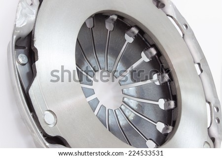 Photo new clutch basket isolated on grey background. car parts
