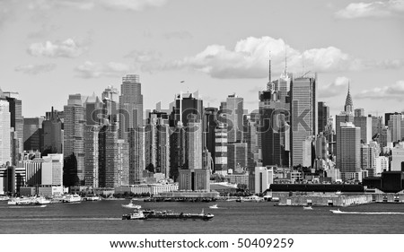photo new york city b&w skyline over hudson river