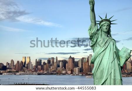 photo new york city skyline over the hudson river - stock photo