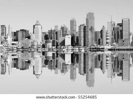 photo new york city skyline over the hudson river - stock photo