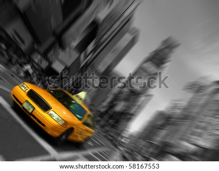 Photo New York City Taxi, Blur focus motion, Times Square