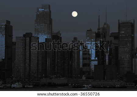 photo new york cityscape in black and blue - stock photo