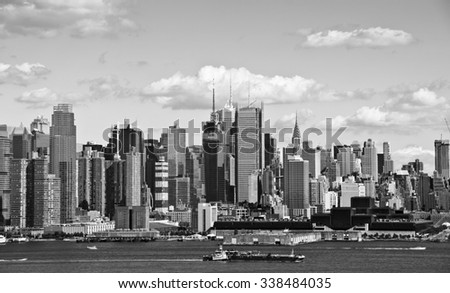 photo new york cityscape over the hudson river - stock photo