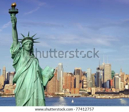 photo new york midtown skyline over hudson river - stock photo