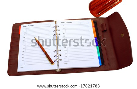 Photo, notebook with pen and pencil in the case against a white background.