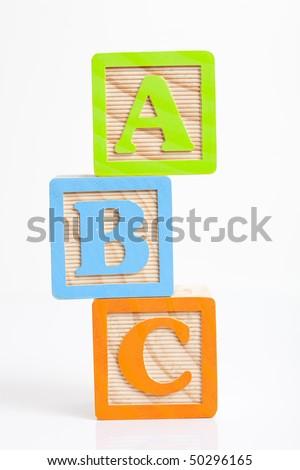 photo of a alphabet blocks spelling abc - stock photo