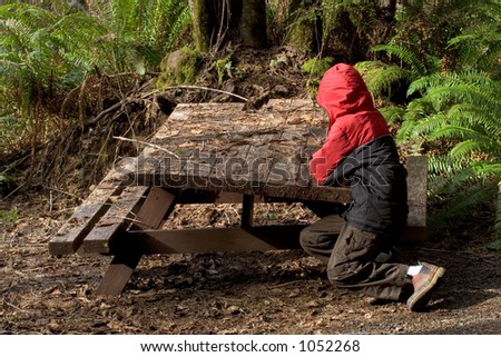 Photo of a an unhappy boy in a red coat sitting at a derelict picnic table at Gnat Creek