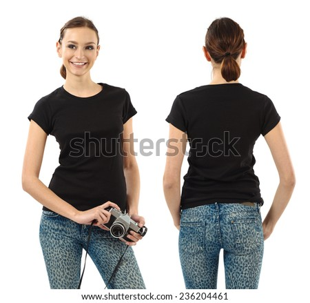 Photo of a beautiful brunette woman with blank black shirt. Ready for your design or artwork. - stock photo