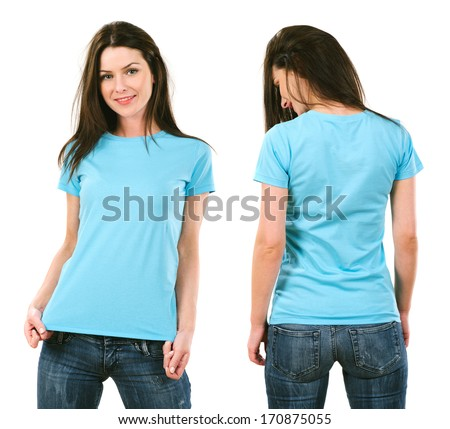 Photo of a beautiful brunette woman with blank light blue shirt. Ready for your design or artwork. - stock photo