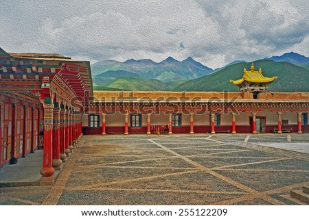 photo of a beautiful courtyard of Tibetan buddhist monastery in Xiancheng, China, stylized and filtered to look like an oil painting  - stock photo