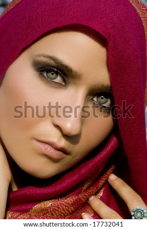 Photo of a beautiful female's flawless skin in the bright sunlight - stock photo