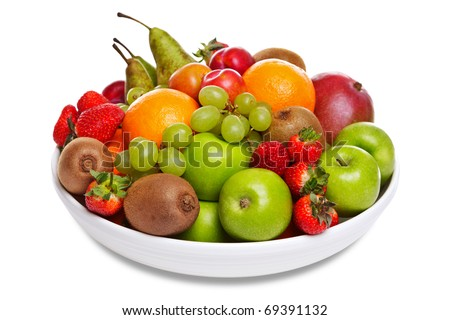 Photo of a bowl of fresh fruit isolated on a white background. - stock photo
