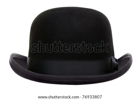 Photo of a bowler hat or derby cut out on a white background - stock photo