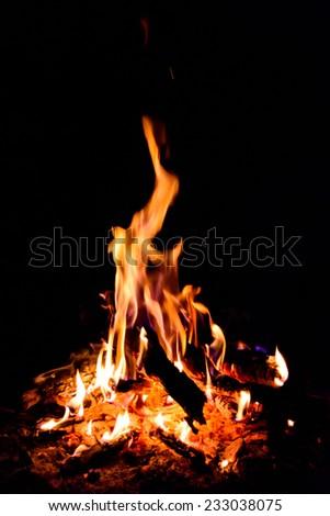 Photo of a burning campfire at night - stock photo