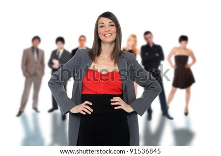 Photo of a business team isolated on a white background with shadows. - stock photo