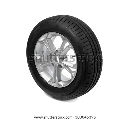 Photo of a car tyre (tire) wheel isolated on a white background - stock photo