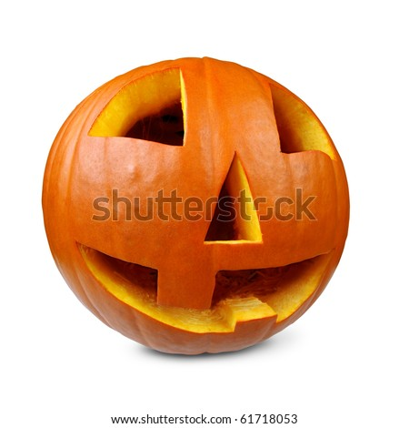 Photo of a carved happy pumpkin on a white background.  Shot with fisheye lens so the pumpkin looks round. - stock photo