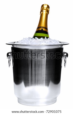 Photo of a champagne bottle in a silver ice bucket isolated on a white background. - stock photo