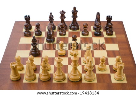 Photo of a chessboard with a game in progress. The chessboard is isolated on white.