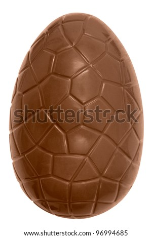 Photo of a chocolate easter egg isolated on a plain white background with clipping path. - stock photo