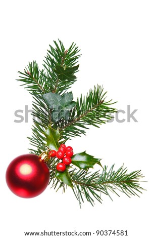 Photo of a Christmas decoration made with holly, red berries, spruce, ivy and a red bauble, isolated on a white background. - stock photo