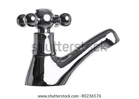 Photo of a chrome tap or faucet isolated on a white background with clipping path.