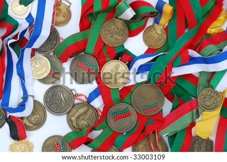 photo of a collection of medal awards from a sport competition - stock photo