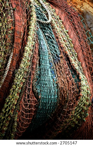 Photo of a colorful fishing net - stock photo