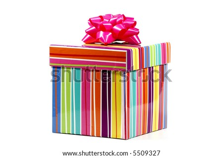 Photo of a Colorful Striped Giftbox - stock photo