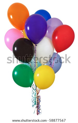 Photo of a colourful group of helium-filled balloons tied with multi-coloured ribbons. - stock photo