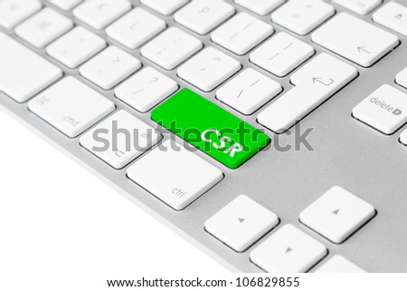 "Photo of a computer keyboard with one green key and the letters ""CSR"", symbolising Corporate Social Responsibility and sustainable responsible business."