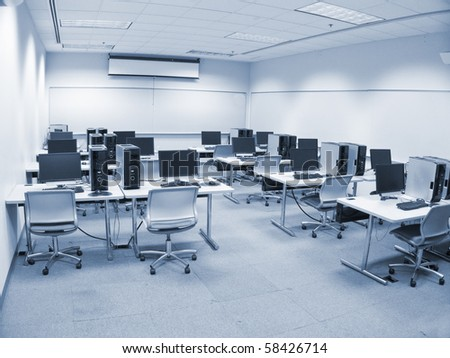 photo of a computer lab - stock photo