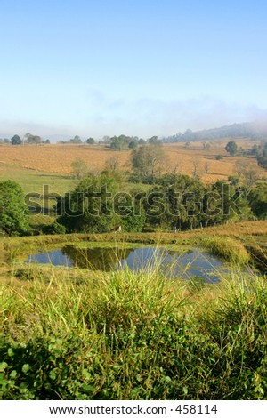 Photo of a dam in a country field.