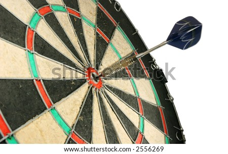 Photo of a dart in the center of the board - stock photo