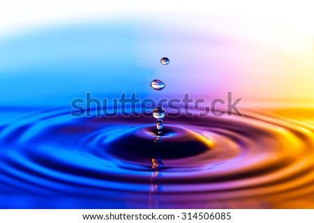 Photo of a drop of water on colorful background