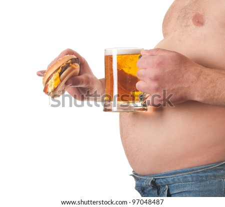 photo of a fat man with a hamburger and beer in his hand - stock photo