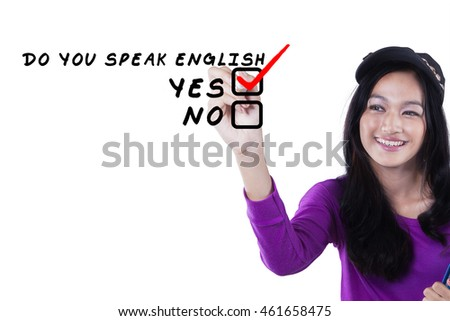 Photo of a female high school student writes Do You Speak English, isolated on white background