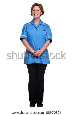 Photo of a female nurse in uniform isolated on a white background. - stock photo