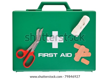 Photo of a first aid kit isolated on a white background with clipping path. - stock photo