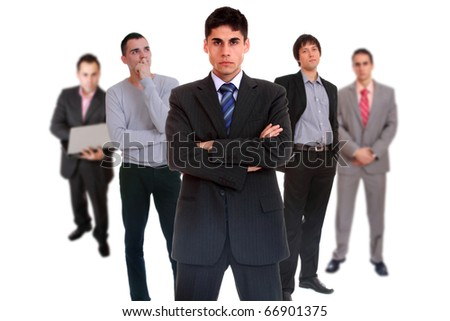Photo of a five person business team isolated on a white background