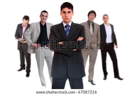 Photo of a five person business team isolated on a white background - stock photo