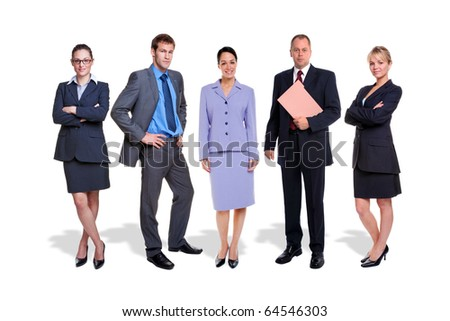 Photo of a five person business team isolated on a white background with shadows.