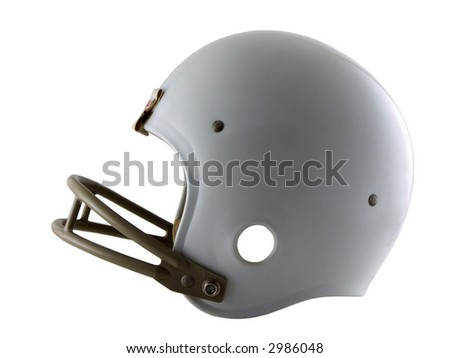 Photo of a football helmet isolated on white - stock photo