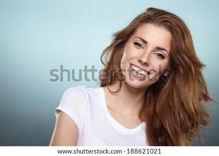 Photo of a fresh beautiful woman, studio shoot - stock photo