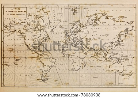Photo of a genuine hand drawn world map, it was drawn in 1844 and therefore the countries are named as they were in the 19th century, the staining is a result of natural ageing process - stock photo