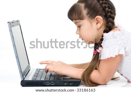 Photo of a girl with laptop, isolated on whita