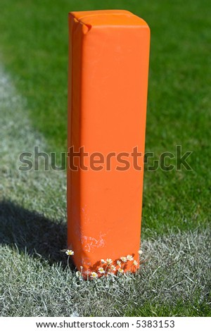 Photo of a goal marker at a football field. - stock photo