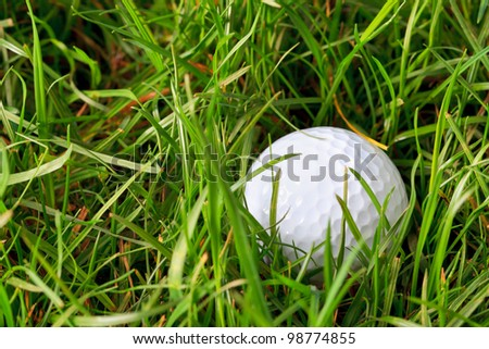 Photo of a golf ball lying in the rough grass - stock photo