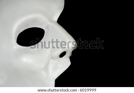 Photo of a Half WHite Mask - Phantom of the Opera - Background - stock photo