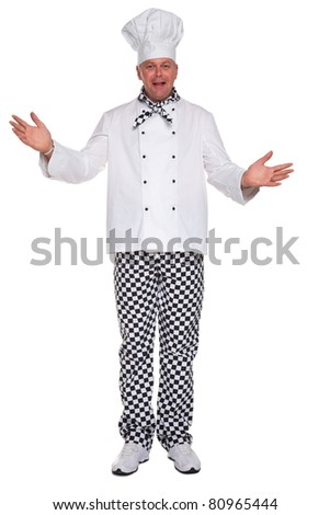 Photo of a happy chef in white uniform with his arms open in a welcoming gesture isolated on a white background. - stock photo